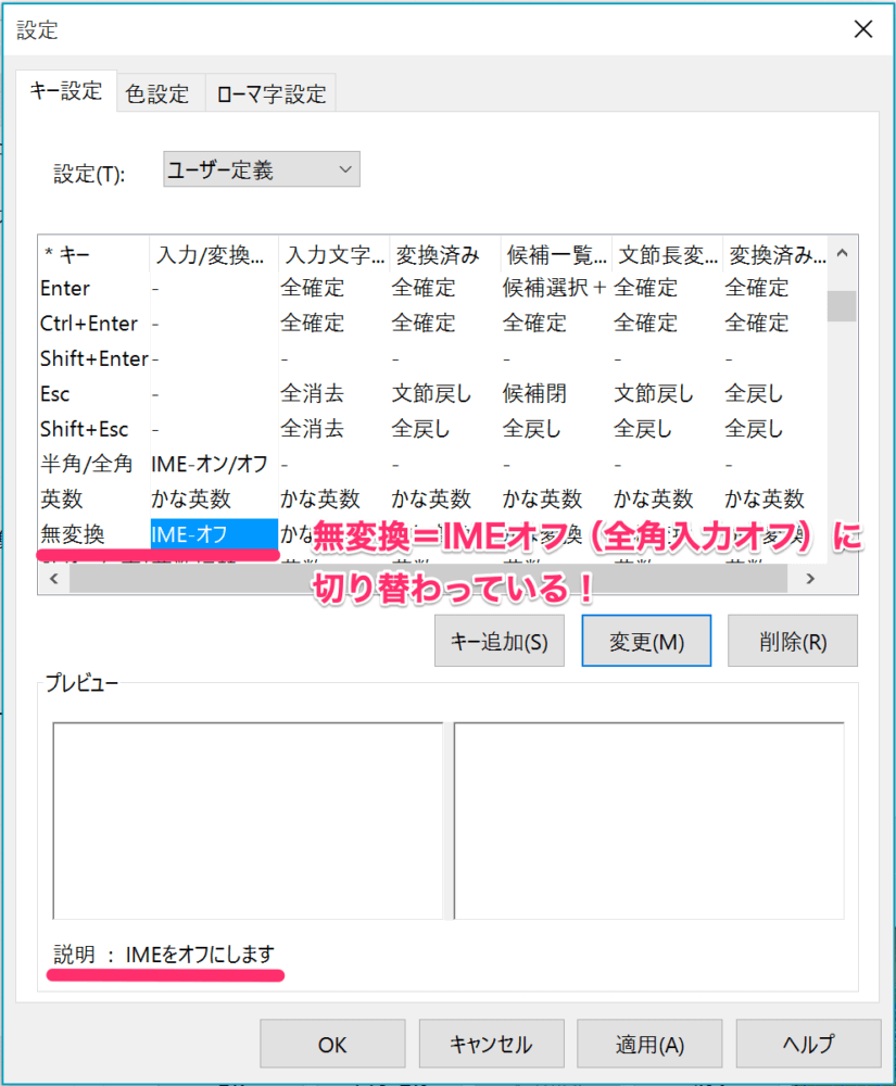 「無変換キー」を押せばIMF入力モードがオフ(=全角入力オフ)にできるようになった