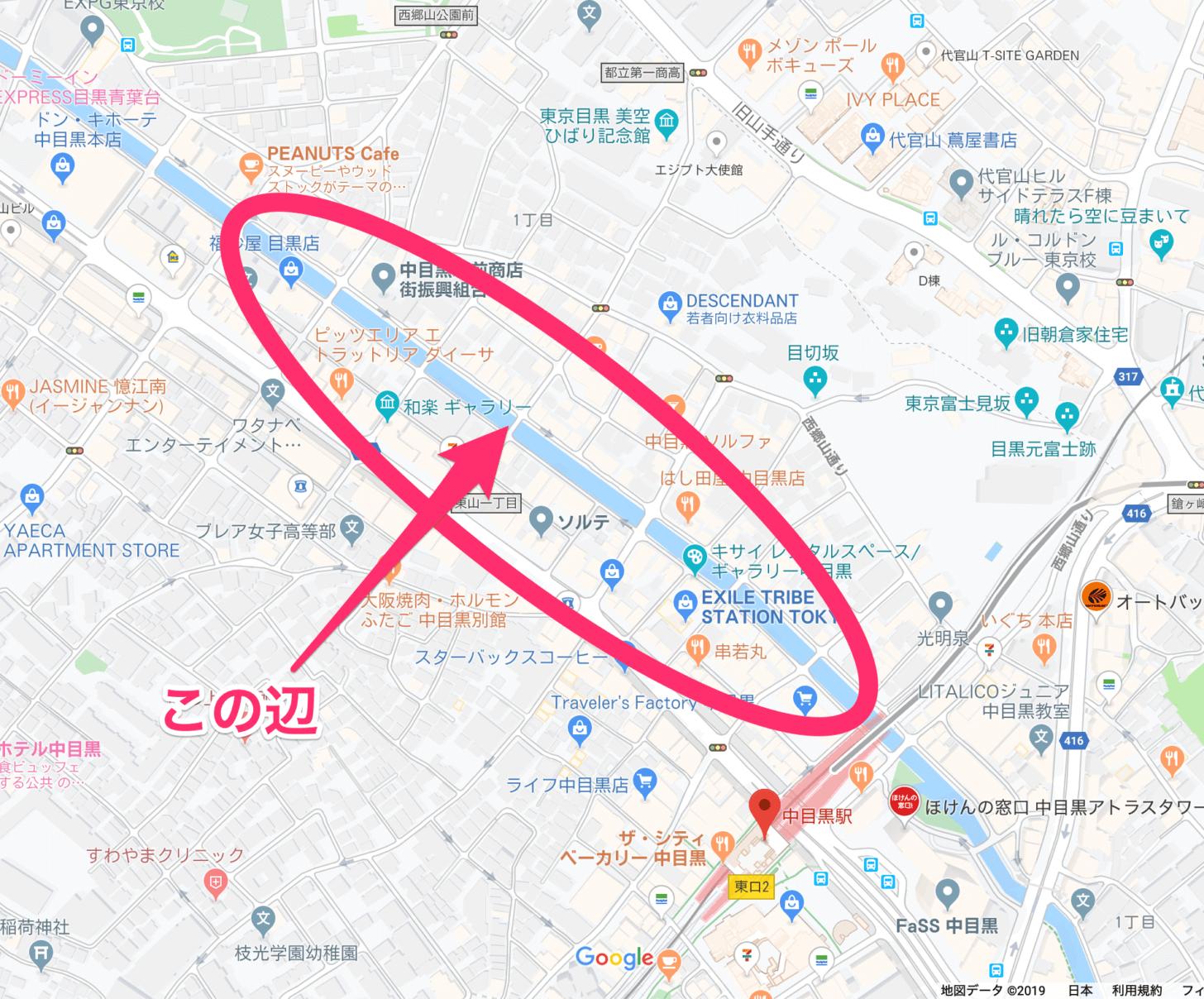 目黒川の中で今回歩いた場所の地図