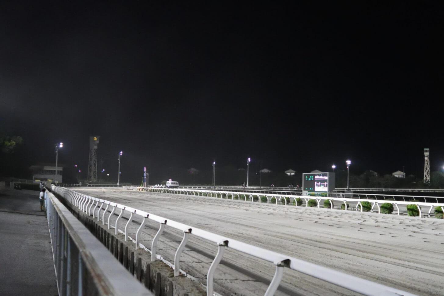 夜の高知競馬場のホームストレート