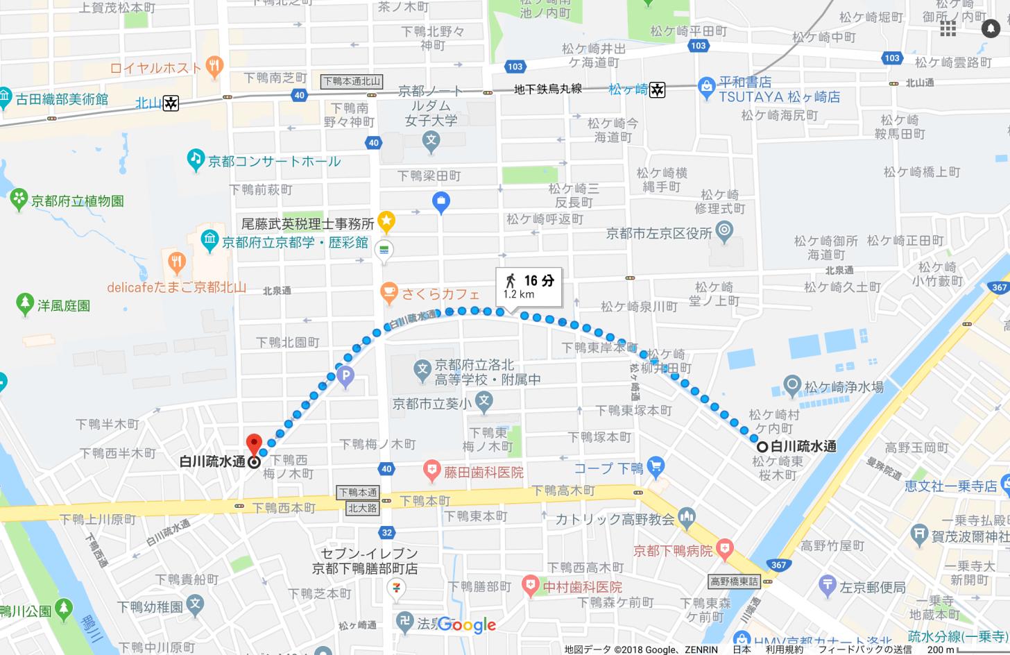 松ヶ崎疎水の場所
