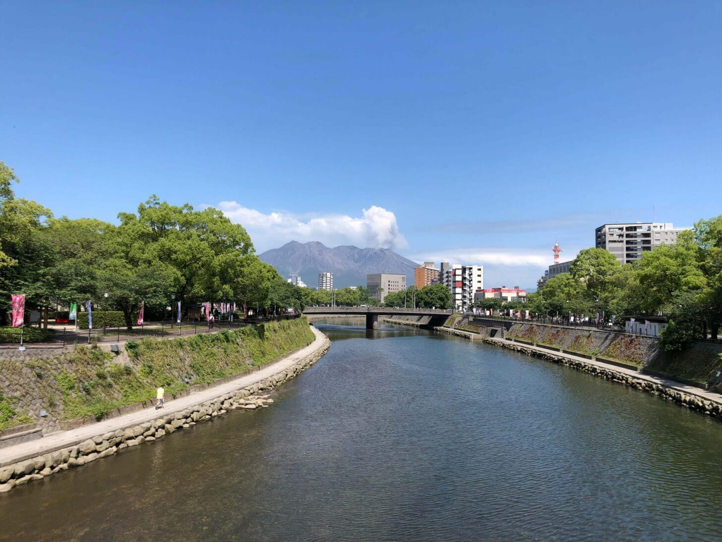 橋の上からの桜島