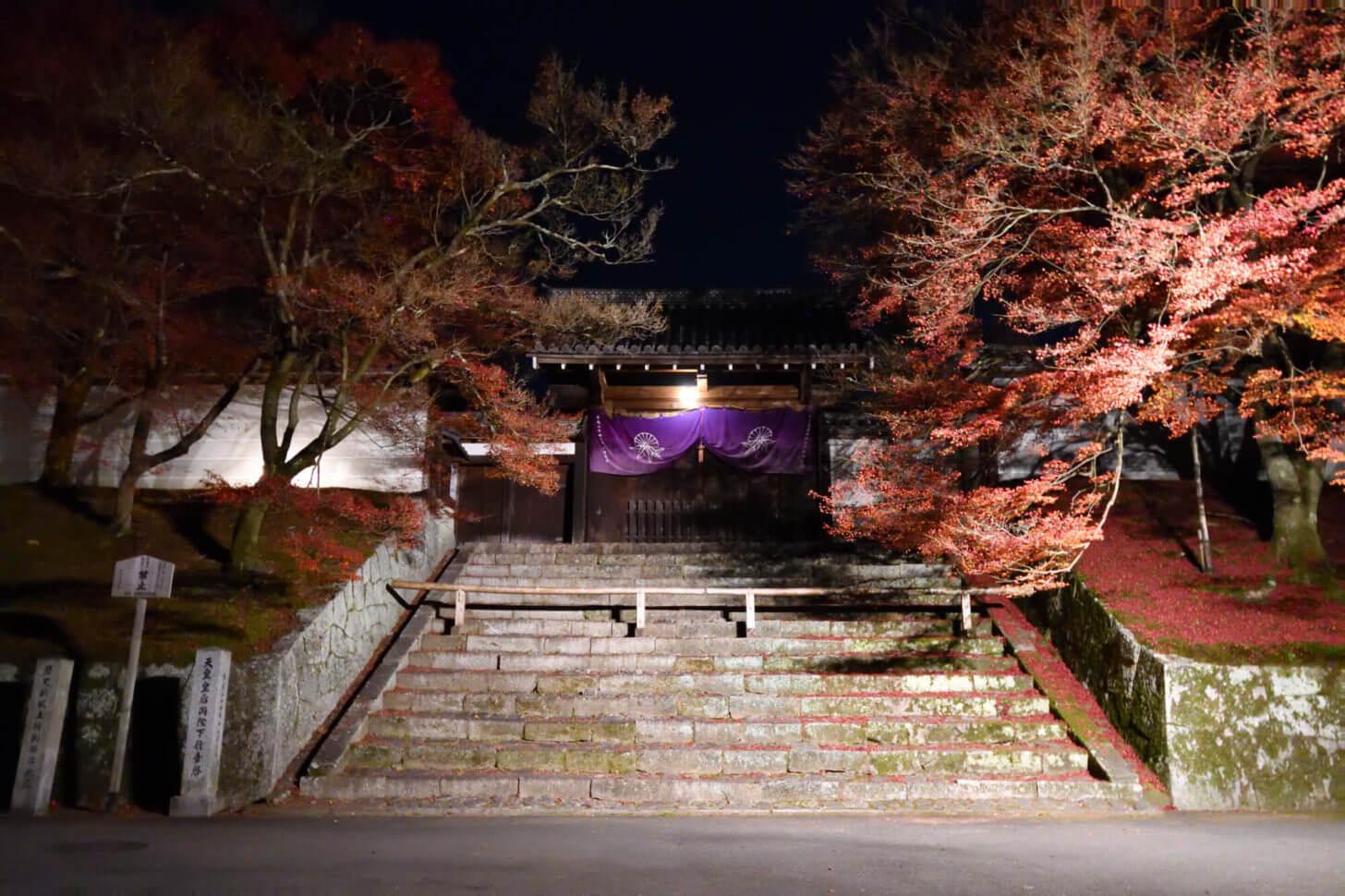 曼殊院門跡 勅使門のライトアップ